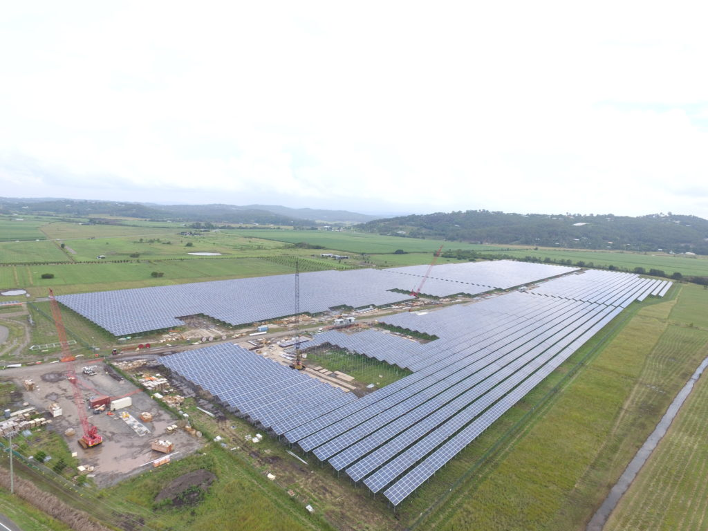 Sunshine Coast Solar Farm construction aerial